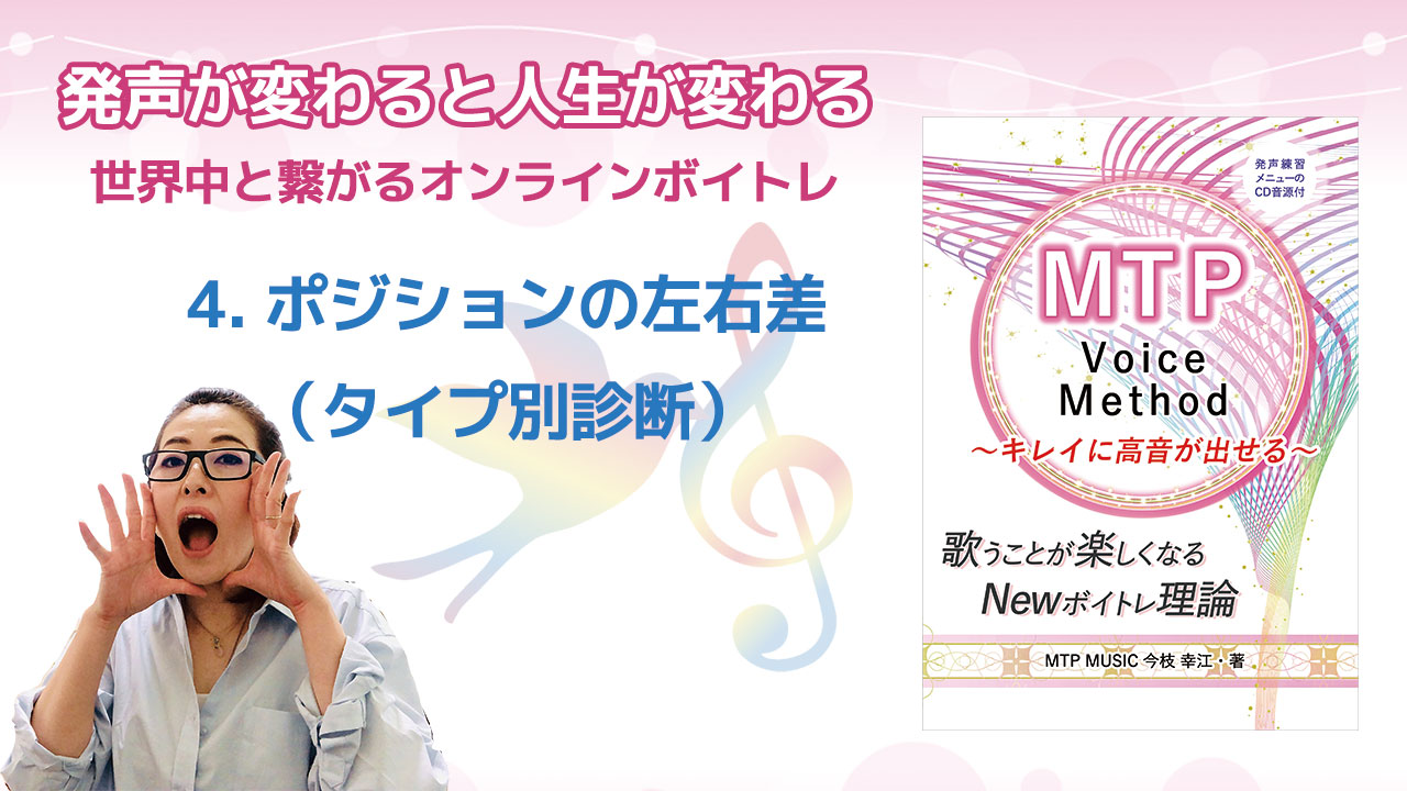 [YouTube]Newボイトレ理論 MTP Voice Method 第4回ポジションの左右差(タイプ別診断)