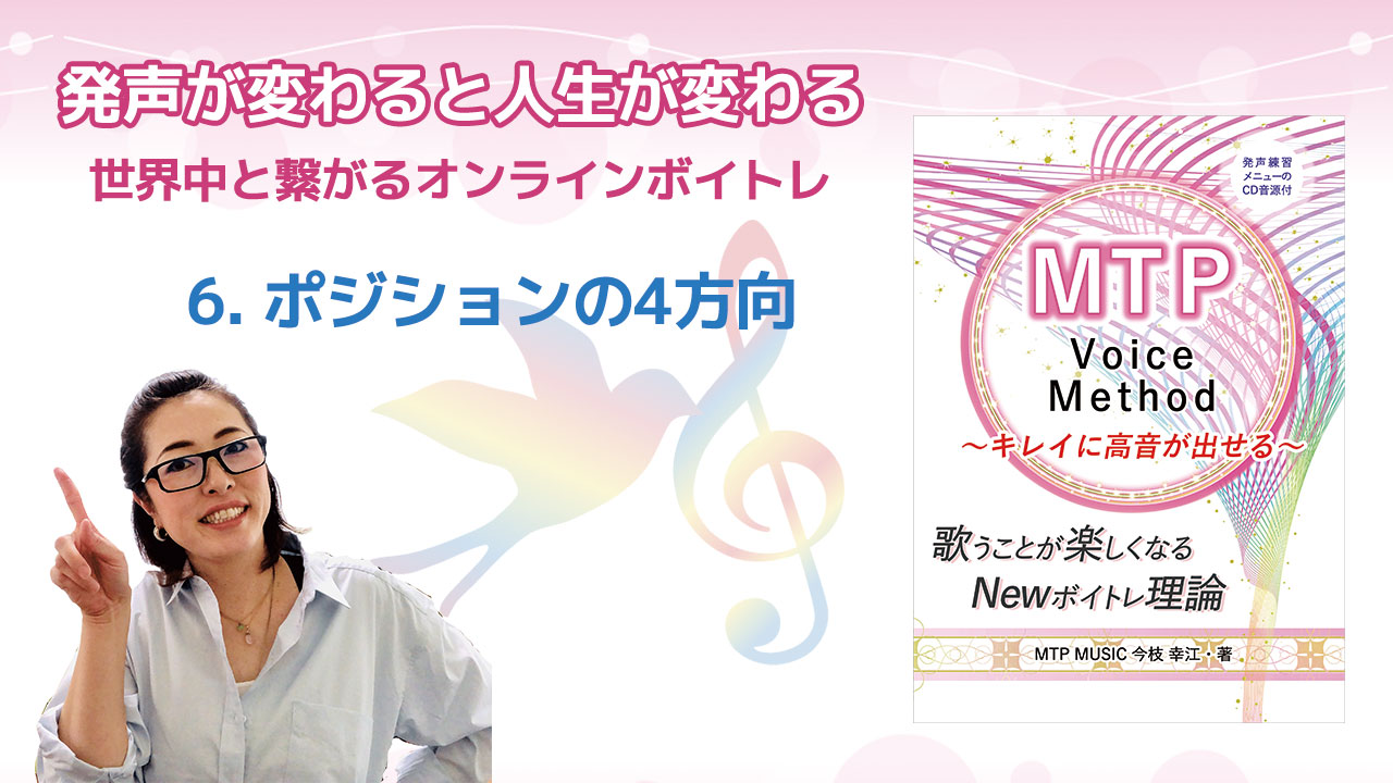 【YouTube】Newボイトレ理論 MTP Voice Method 第6回 ポジションの4方向